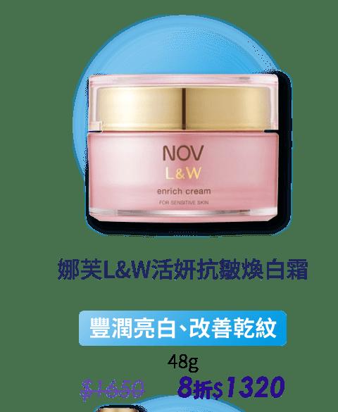 Nov娜芙L&W活妍抗皺煥白霜、配加足夠的保濕成分(透明質酸、角鯊烷、甘草衍生物等),使皮膚更濕潤、更清新細緻